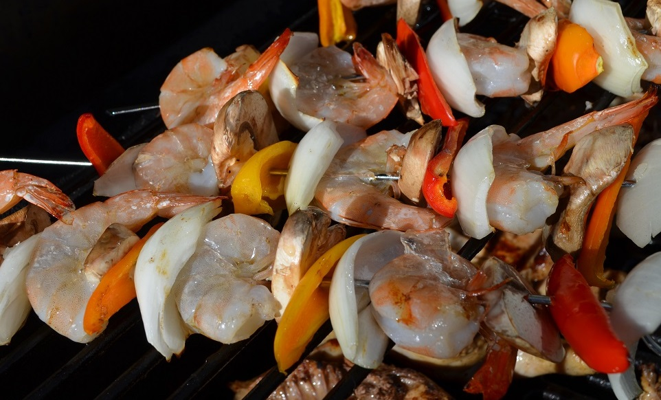 Grilled Shrimp and Vege Kabobs