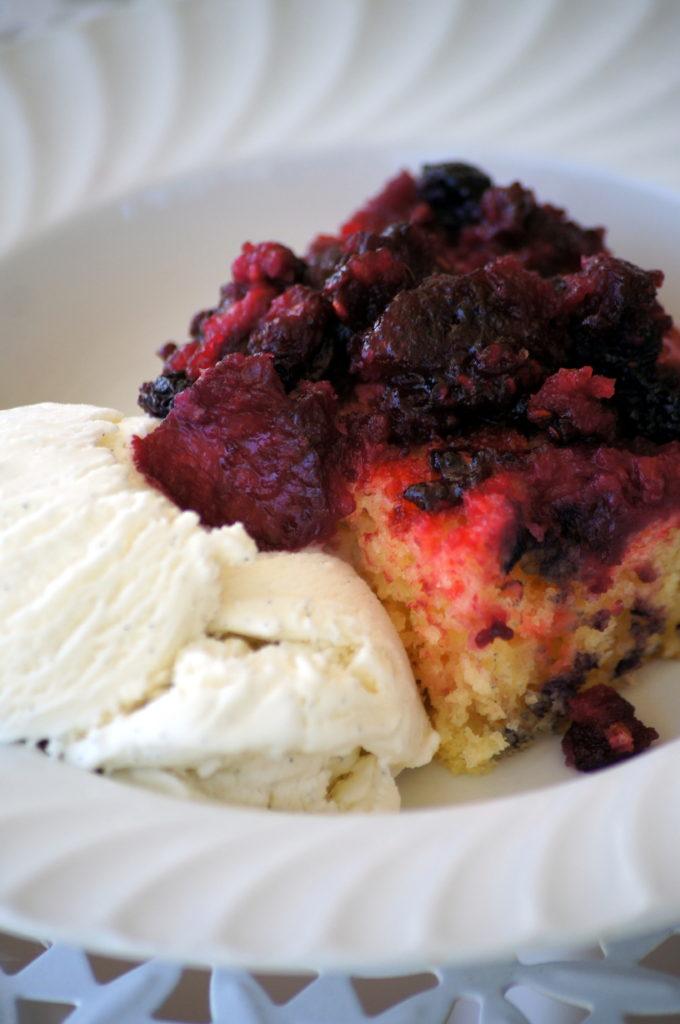 Triple Berry Upside Down Cake