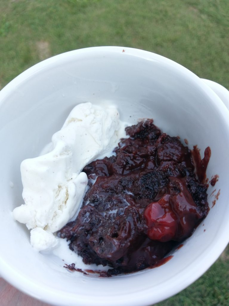 Chocolate Chip Cherry Chocolate Cobbler